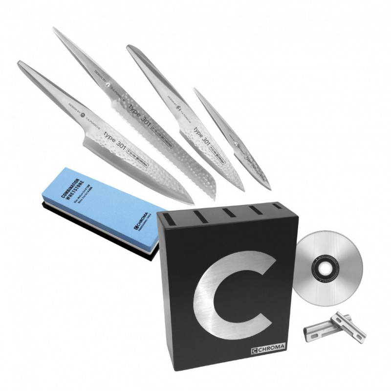 Chroma Type 301 X-MAS Set: 4 Messer + Messerblock + Schleifstein + DVD